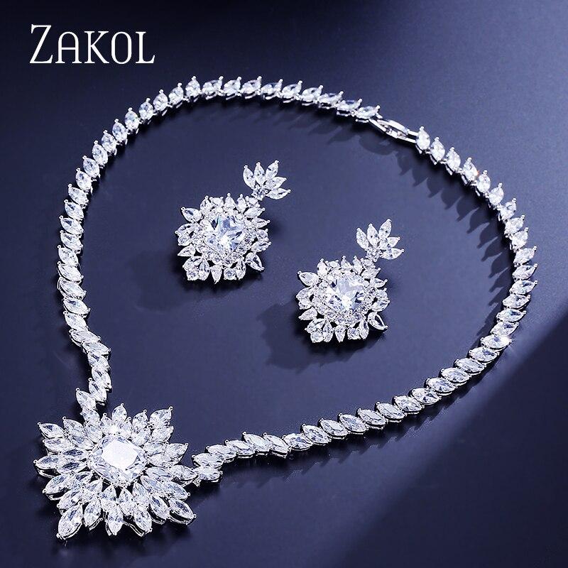 ZAKOL Gorgeous Big Square Cubic Zircon Jewelry Set Earrings Necklace Elegant Women Engagement Jewelry FSSP294 pair of gorgeous rhinestoned floral jewelry earrings for women