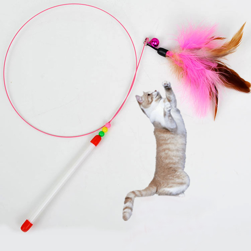 New 1pc Pet cat toy Cute Design Steel Wire Feather Teaser Wand Plastic Toy for cats Color Multi Products For pet Free shipping