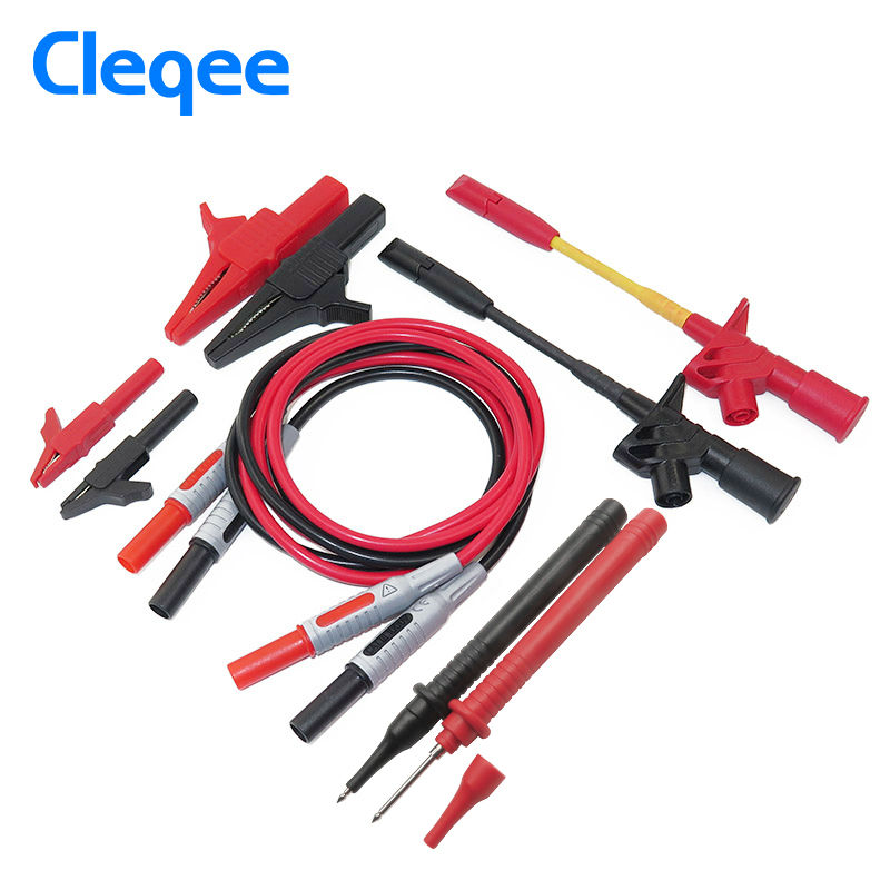 Cleqee P1600C 10-in-1 Electronic Specialties Test Lead kit Automotive Test Probe Kit Multimeter probe leads kit Banana plug 1pcs yt191 high voltage 4 mm banana plug test lead cable wire 100 cm for multimeter the probes gun type banana plugs