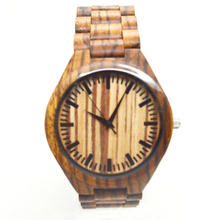 Montre homme 2016 mens zebra sandal wood watches bamboo wooden watches Japanses 2035 movement quartz wrist watches for men