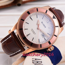 46mm Bliger white dial golden case date adjust display Leather strap Automatic self-wind movement Men's Mechanical Wristwatches