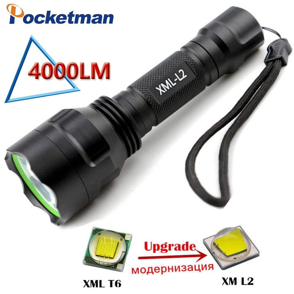 c8 led flashlight 4000 4000 lumens cree xm l2 lanterna lanterna led torch light. Black Bedroom Furniture Sets. Home Design Ideas