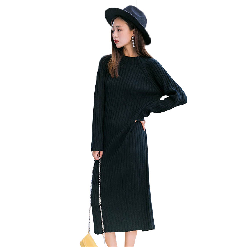 Warm Autumn Winter Slim Knitted Sweater Long Dresses Fashion Draped Straight Dress Mid-Calf Black White Thick Casual Dress Mw016 zocept women s dresses solid full sleeve v neck a line mid calf soft cashmere knitted warm autumn winter female slim long dress