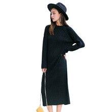 Теплые осень-зима тонкий вязаный свитер Длинные платья Мода драпированные прямое платье до середины икры черный, Белый цвет толстые Повседневные платья mw016