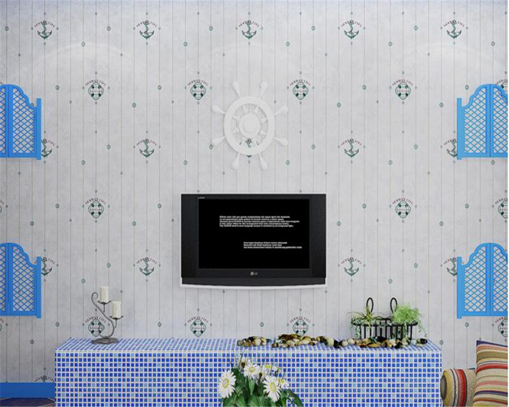 Beibehang Children room wallpaper Cartoon maritime Mediterranean boy sweet bedroom living room sofa setting wall 3d wallpaper beibehang wallpaper vertical stripes 3d children s room boy bedroom mediterranean style living room wallpaper page 7