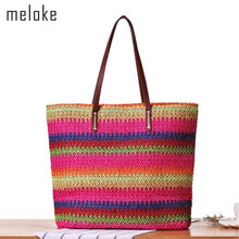 ff01fb88876d Meloke 2018 new sales women straw shoulder bags colorful large size beach  bags for girl casual