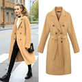 Wool Coat Girl Blends  with belt New Women's 2016 Trenches Autumn and Winter 2016 Fashion Female Overcoat Long Design