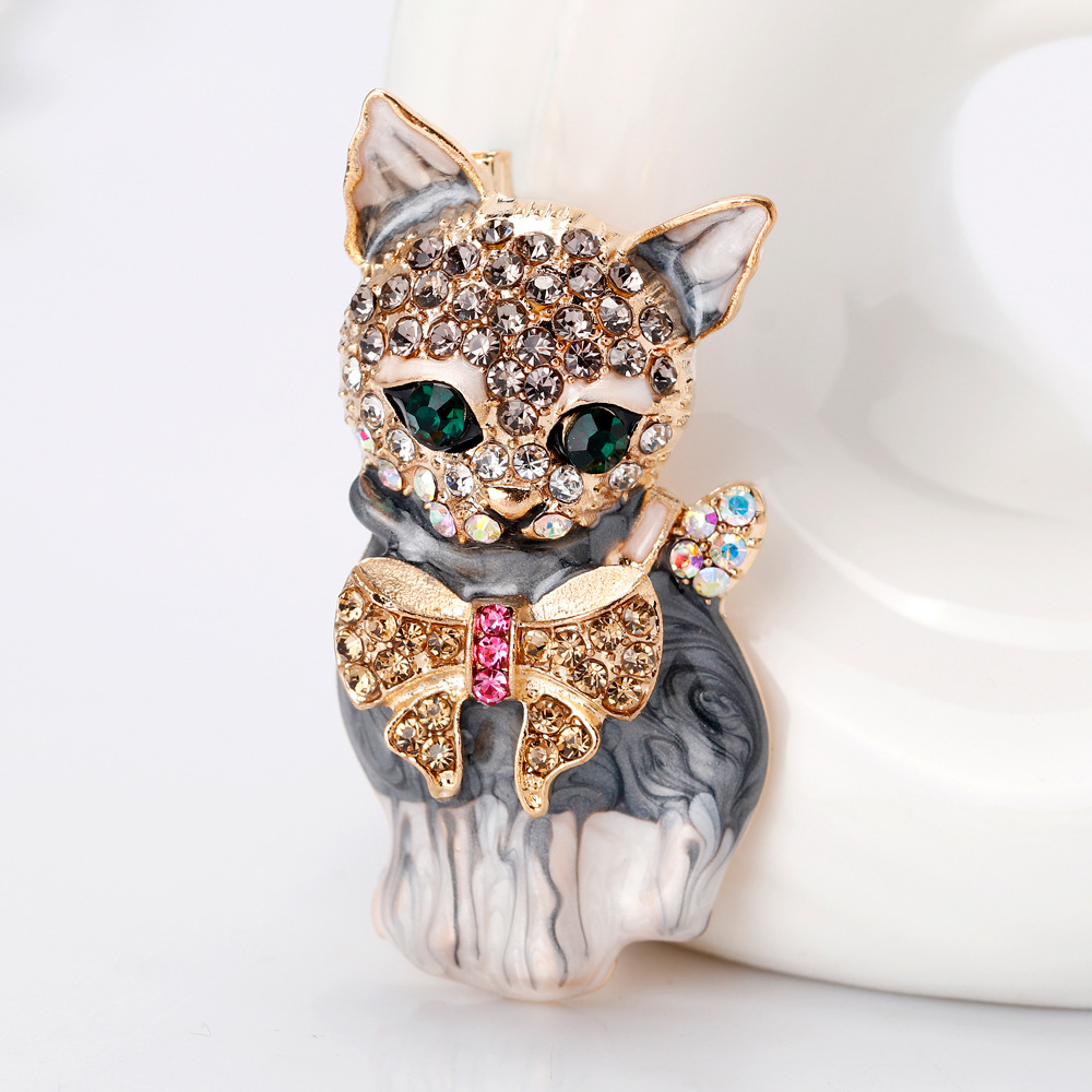 Lively Pride Cat Brooch para Party Shell Metal Crown Blue Crystal - Bisutería - foto 2