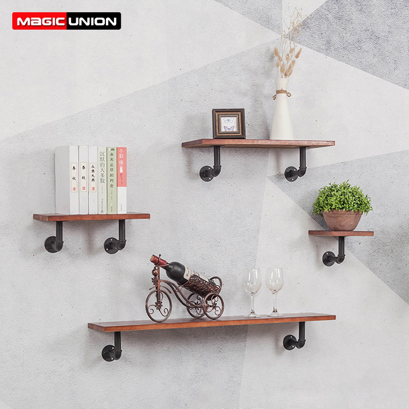 MAGIC UNION Wooden Wall Shelf Indoor Decorations Indoor Wall Shelf Bookshelf Wooden Wall Hanging Simple Home Decoration Полка
