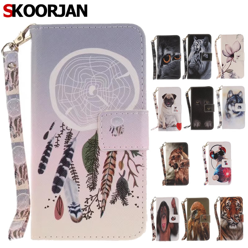 Galleria fotografica Phone Etui For Samsung Galaxy S6 G9200 Case Wolf Owl Tiger Lion Monkey Painted Flip PU Leather Wallet Cover For Fundas Galaxy S6