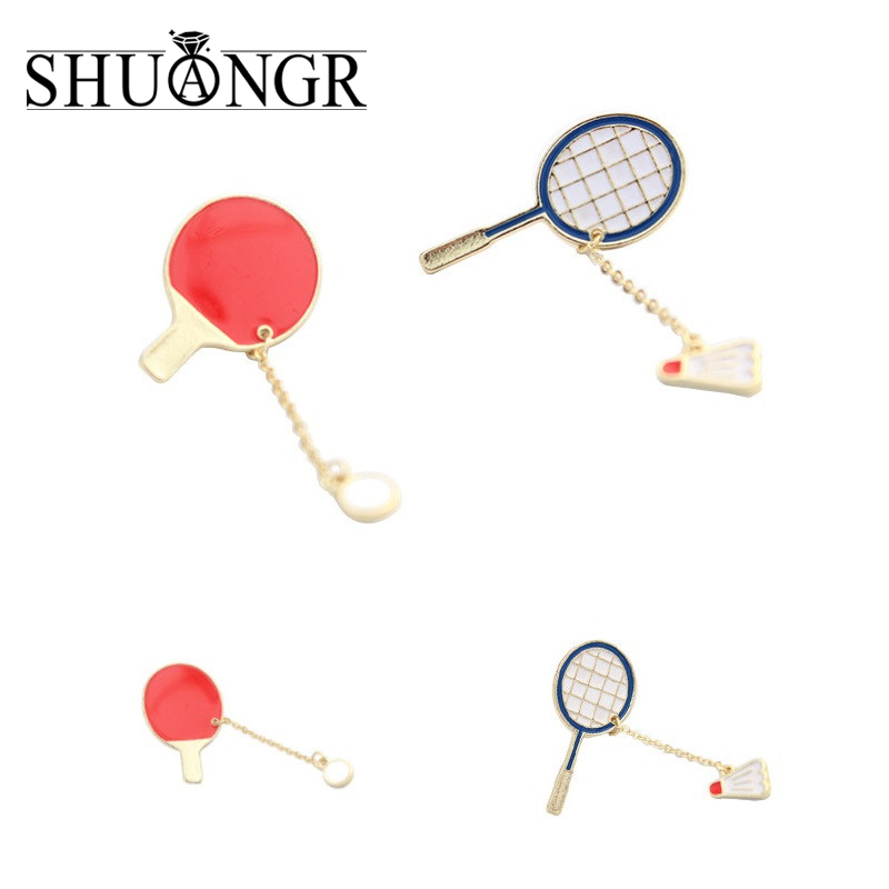 SHUANGR New Arrival fashion Sports Enamel Badminton/Ping-Ppong Racket Gadge Grooch For Women Wholesale Jewelry Accessories