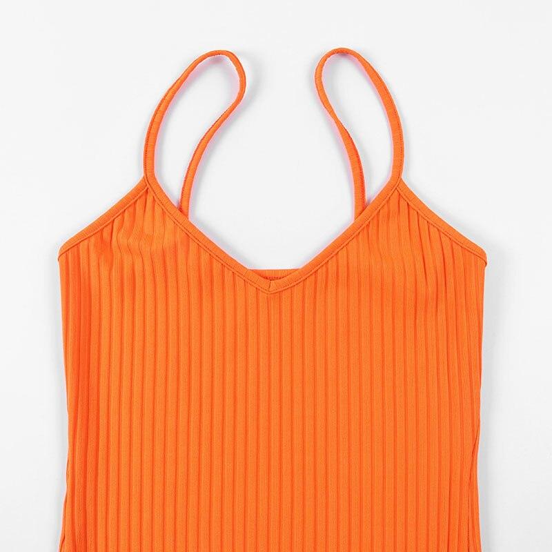 Orange Dresses Sexy High Waist Women Summer V-Neck Backless Knee Dress Spaghetti Bodycon Elegant Fashion Party - dresses