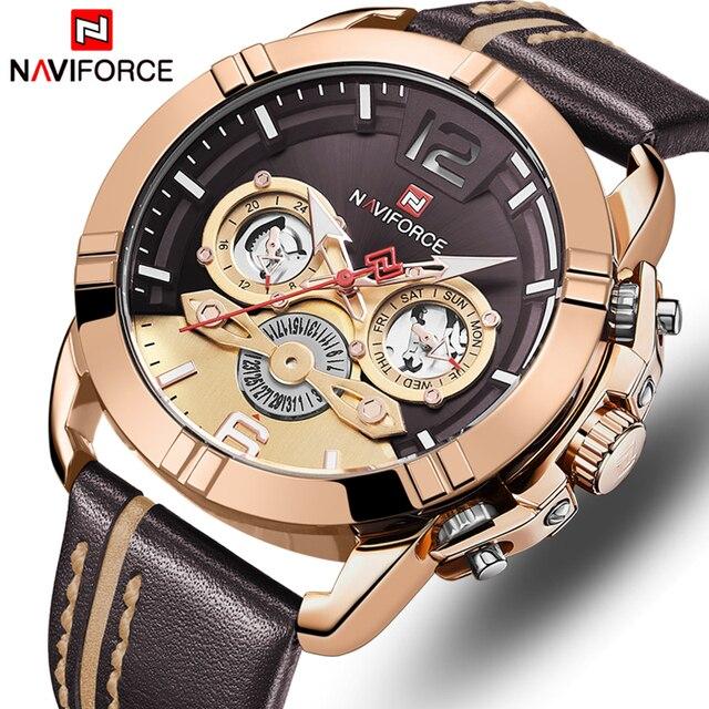 NAVIFORCE Mens שעון למעלה מותג Bussiness קוורץ גברים שעון עור עמיד למים ספורט שעון יד תאריך זכר שעון Relogio Masculino