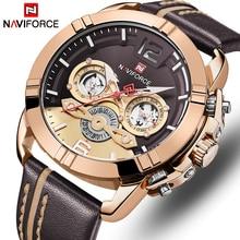 NAVIFORCE montre en cuir pour hommes, étanche, montre bracelet de Sport, étanche
