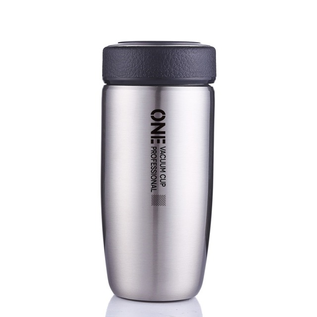 Oneisall Double Walled Thermos Bottle Coffee Mug With Tea Infuser Cup For Man