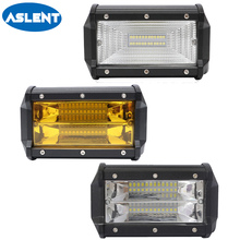 купить Aslent 5 72W 2-Row LED Work Light 12v 24v Spot Flood Beam Led Lamp Bar Driving Lights Offroad 4x4 Truck Boat 4WD ATV SUV 3000K дешево
