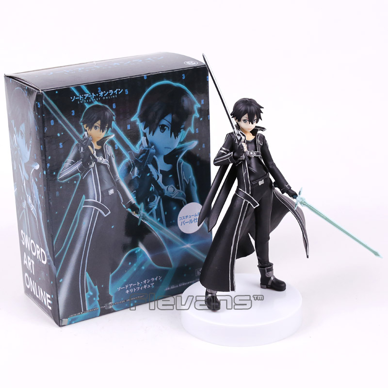 Sword Art Online Kirigaya Kazuto Kirito PVC Figure Collectible Model Toy Black/White 18cm new fashion sword art online cosplay bag sao kirigaya kazuto anime shoulder bag pu waterproof travel messenger bags