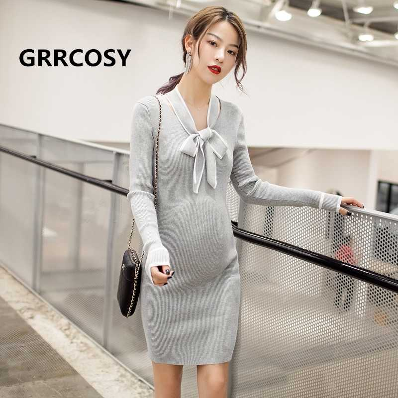 a91ccdee085bb ... GRRCOSY Maternity Dress Autumn Winter Pregnancy Clothes For Pregnant  Women Mummy Clothing With Bow ...