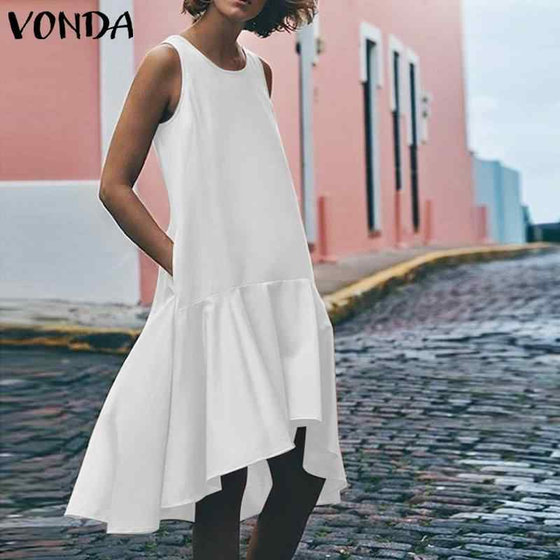 VONDA сексуальное платье без рукавов женский сарафан 2019 Асимметричная гофрированная майка с окаймлением платья летние пляжные Длинные Топы повседневные Vestido Большие размеры