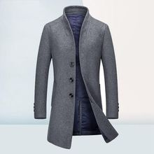 Autumn Winter Men Wool Coat Casual Long Wool Jacket Men Single-breasted Stand Collar Mens Pea Coat High-grade Winter Coat Men