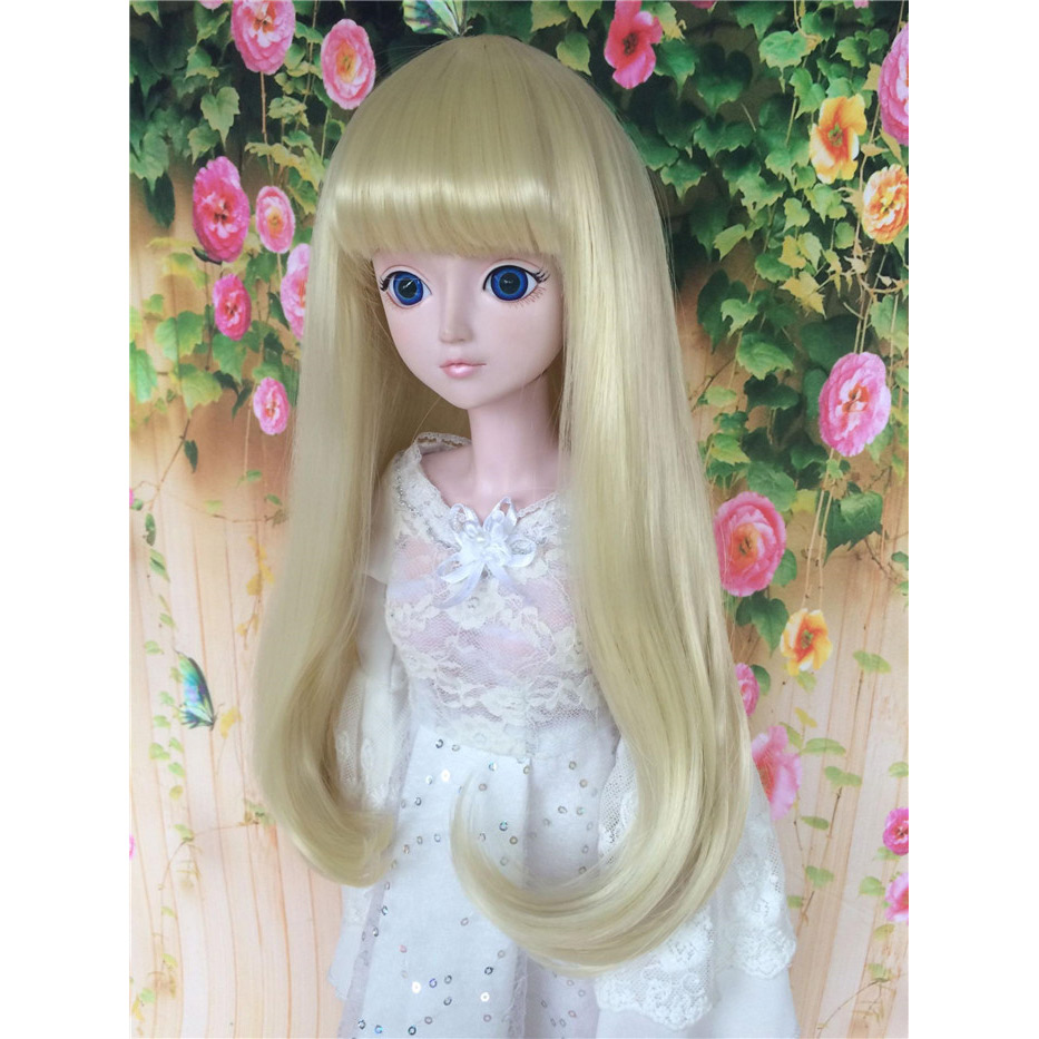 LIMPOPO BJD SD Doll hair Pear head Long straight hair micro-roll material high temperature fiber 1/3 1/4 1/6 light golden цена 2017