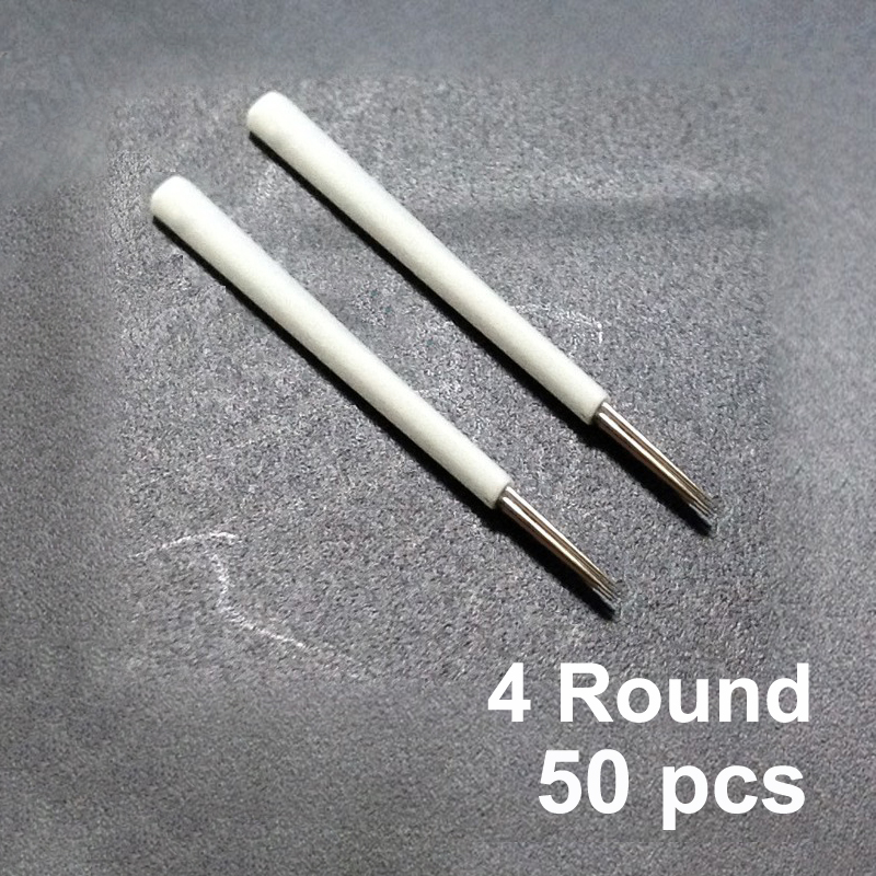 50pcs 4 Round Needles For Manual Pen Semi Permanent Makeup Manual Fog Pen Needle R4 Microblading Eyebrow Tatoo Pen Tatuaje Cejas Products Are Sold Without Limitations Beauty & Health