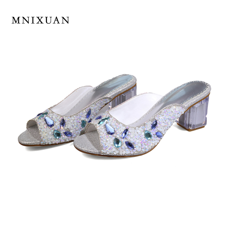 MNIXUAN women slippers sandals 2018 summer new elegant sequins peep toe transparent thick high heels 7cm rhinestone big size 10 mnixuan women slippers sandals summer