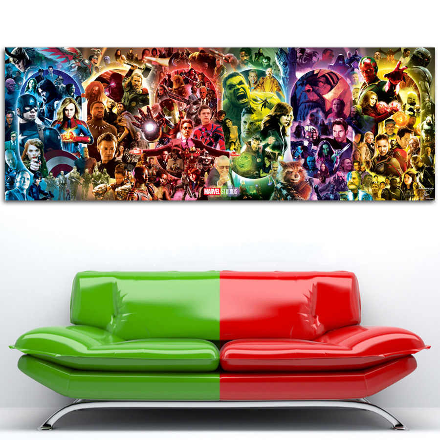 The Infinity Saga - Marvel Cinematic Universe Wall Art Poster Avengers Endgame Canvas Painting Silk Printed For Room Decor