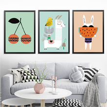 Children Cartoon Canvas Pictures Art, Cherry Watermelon Cute Wall Picture Print Poster For Decor