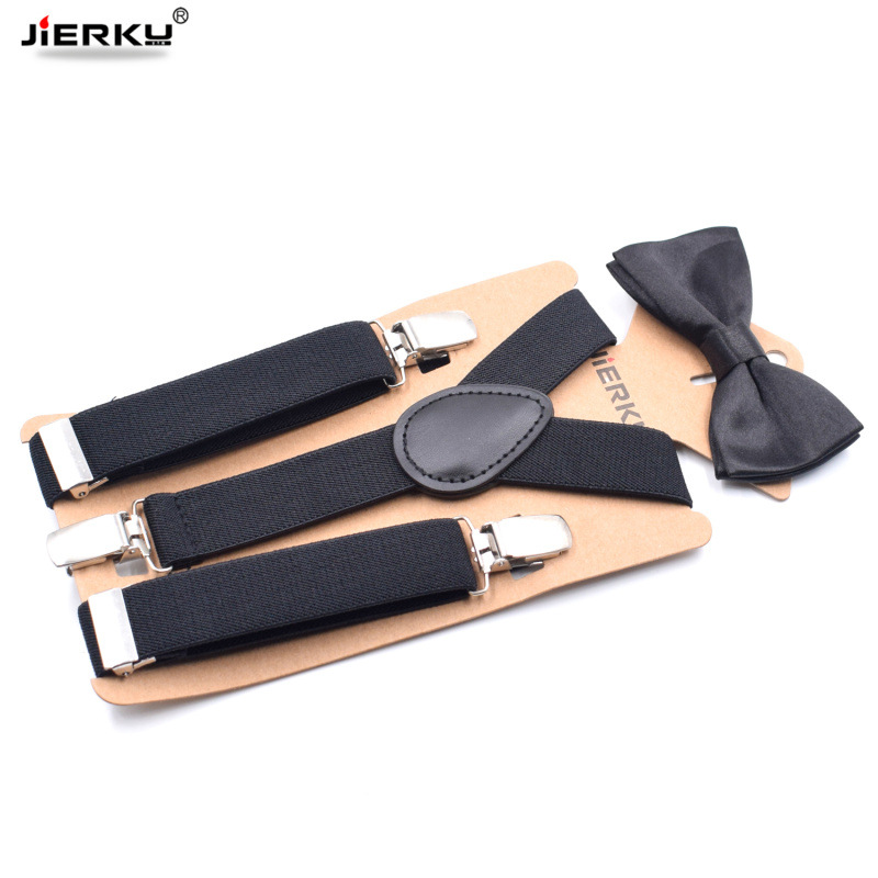 JIERKU Suspenders Boy's Braces Baby Suspenders With Bow Tie 3Clips Black Leather Suspensorio Fashion Trousers Strap 2.5*65cm