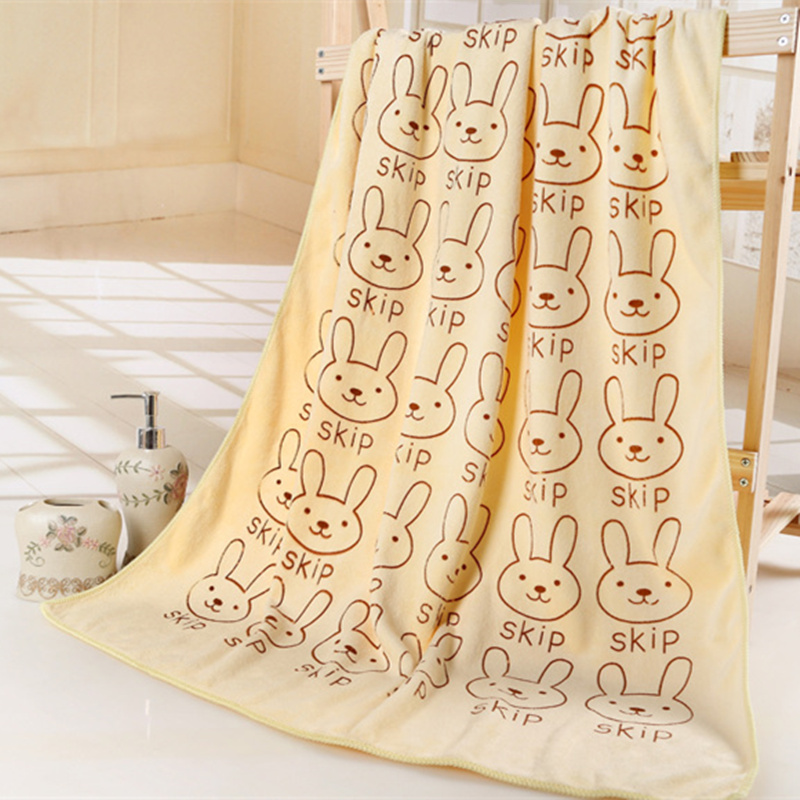 New Rabbit Head Printing Microfiber Fabric Bath Towel High Quality Quick-dry Absorbent Beach Bath Towels Home & Garden
