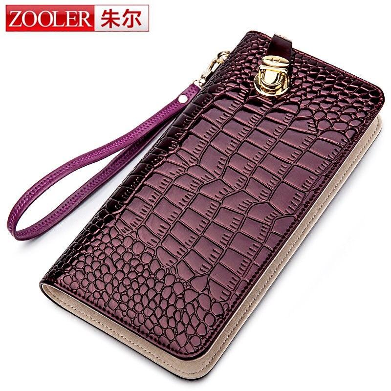 ZOOLER High Quality 100% Cowhide Crocodile Women Wallets Zipper Long Wallet Designer Wallets Famous Brand Ladies Burgundy Wallet high quality women wallet 100