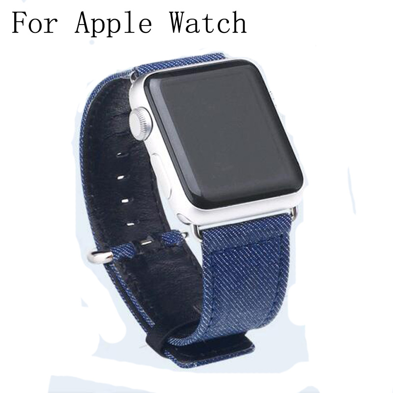 Special Design Blue Cowboy Canvas Leather Correas Bracelet Apple Watch Strap 42mm 38mm For Iwatch With