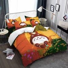 Casa têxtil dos desenhos animados anime totoro king size jogo de cama roupa 3pcs consolador conjuntos cama capa edredão folha fronha