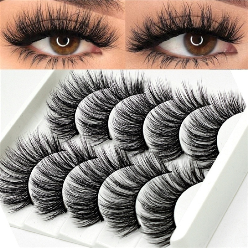 5 Pairs Multipack 5D Soft Mink Hair False Eyelashes Handmade Wispy Fluffy Long Lashes Nature Eye
