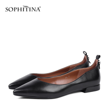 Купить с кэшбэком Sophitina Flats Shoes Women Handmade Pointed Toe Slip On Career Flats 2019 Autumn Black Patent Leather Shallow Lady Shoes P14