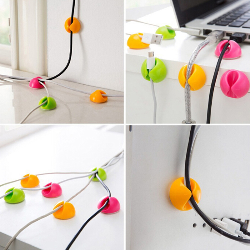 Mixed Color Cable Winder Clips Desktop Workstation Tidy USB Cable Management Organizer Holder Wire Protector 10Pcs
