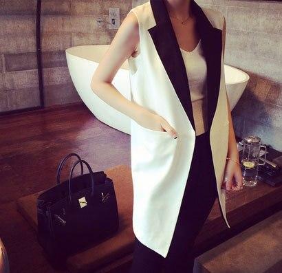 Color Contrast Patchwork Women Blazer Vest Open Stitch Slim Suit Vesta Elegantní Kancelář Lady Coats Outwear White Black Grey