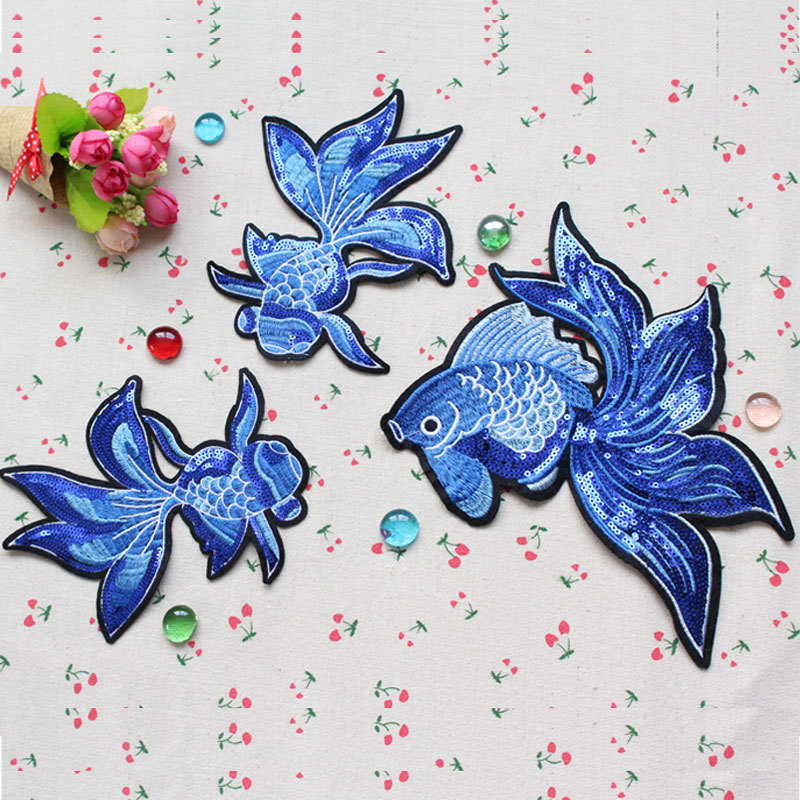 10pcs Sequin lace fabric patch fish design sweater DIY decorative pattern fashion applique clothes sewing accessories