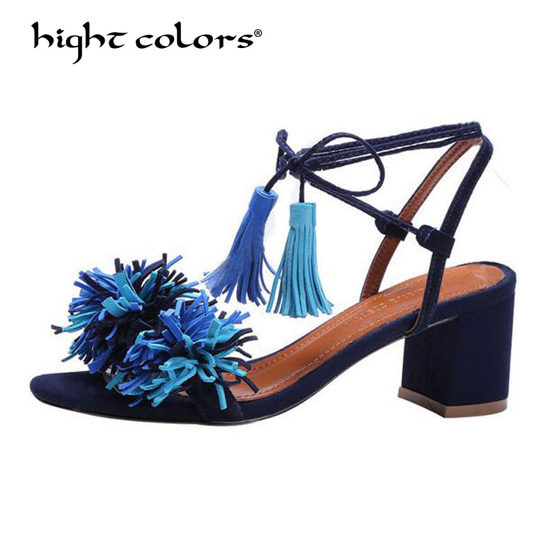 Brand Blue Shoes Woman Flock Gladiator Sandals Women Summer Lace Up Sandals Thick Heels Fringe Summer Beach Women Sandals HTL333 brand shoes woman flock gladiator sandals women summer dress shoes lace up high heels fringe beach casual shoes ladies sandals