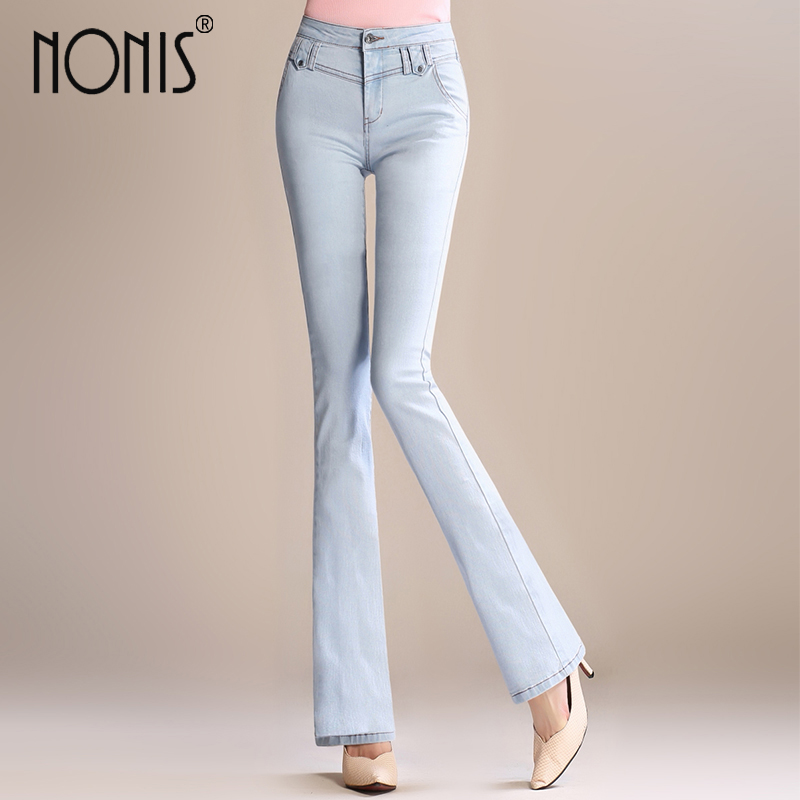 Nonis 2017 High Waist Jeans Women Vintage Skinny Jeans Female Slim Elastic Pants women denim pants Plus Size Three color