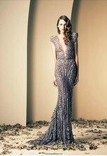 Echt Bilder Hohe Qualität Tiefem V-ausschnitt Mantel Kleider sicken Vestidos Ziad Nakad Modest Abendkleider