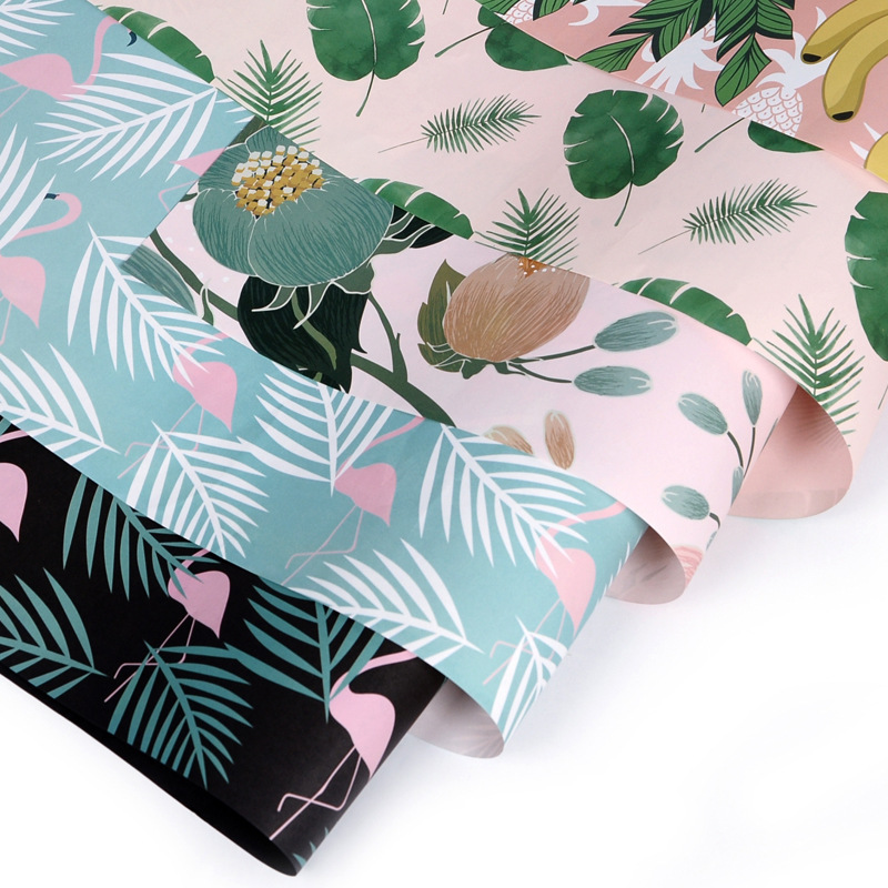 5PC Tropical Style Flamingo Wrapping Paper Handmade DIY