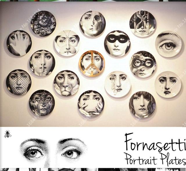 piero fornasetti plate hanging decoration ceramic art panel dish plate wall hanging plate 01