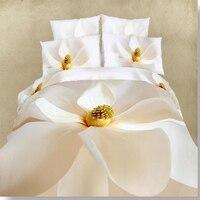 Haute qualité fleur 3D Peinture À L'huile ensemble de Literie 4 pcs Draps 100% coton housse de Couette linge de lit de luxe ensembles reine taille