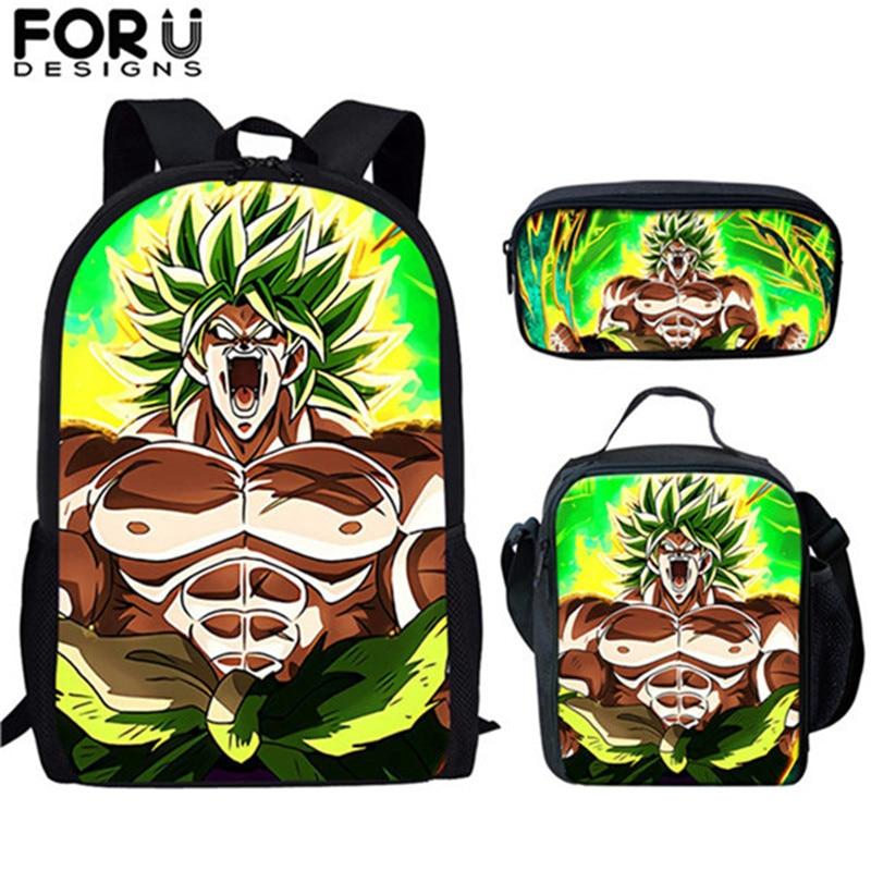 FORUDESIGNS Hot Anime School Bags Backpacks Dragon Ball Z Super Broly Pattern Fashion School Bookbags Set For Girls Boys Mochila