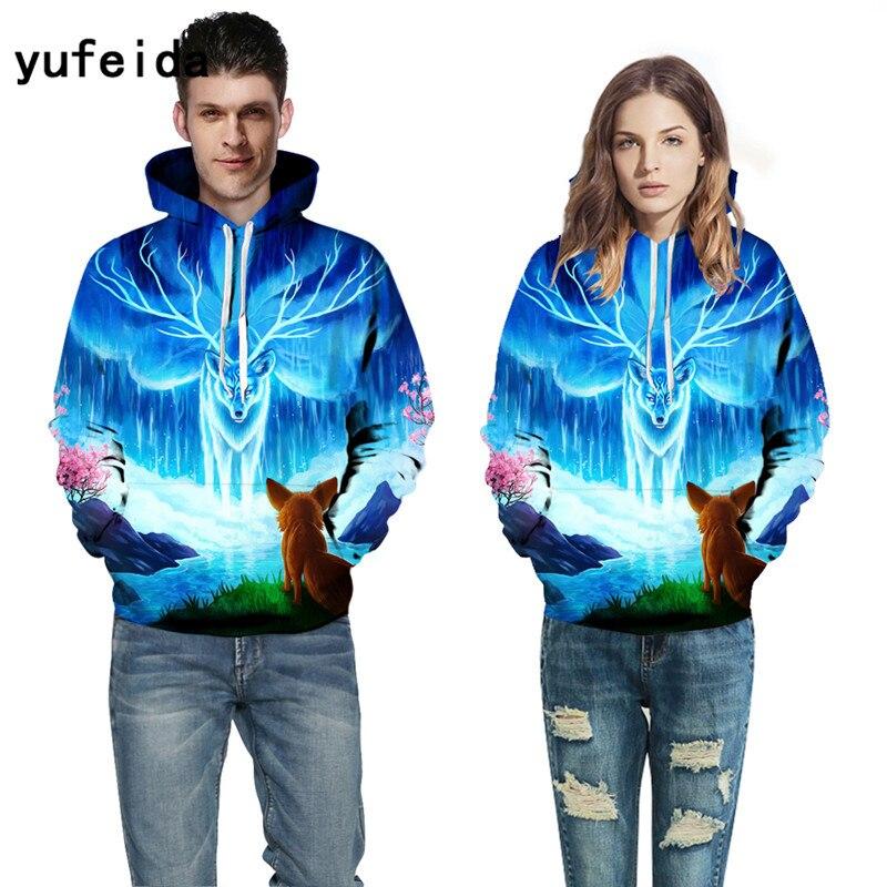 YUFEIDA Hoodies 3D Print Men Women Sweatshirts Fashion Pullover Autumn Tracksuits Harajuku Outwear Casual Animal Male Jacket