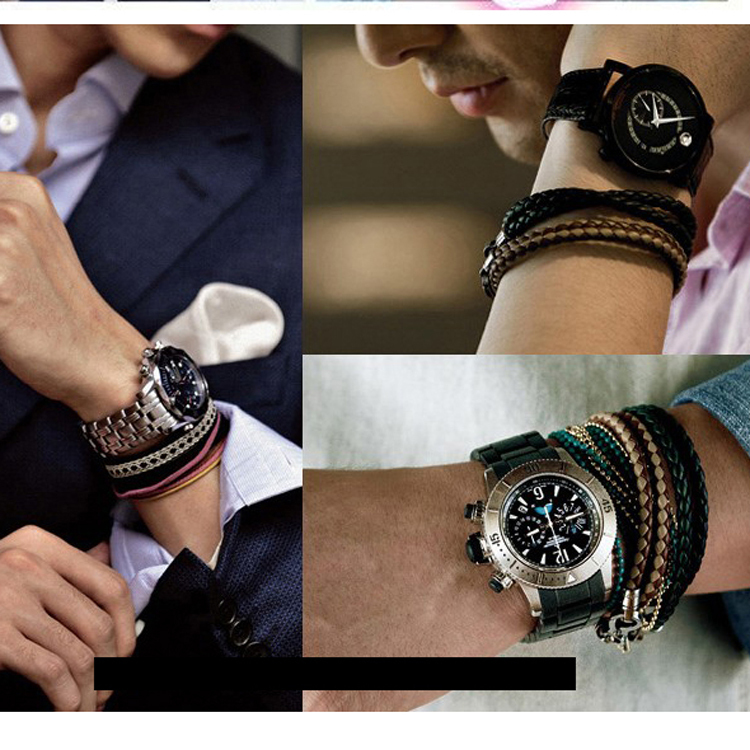 Tateossian Double Black Leather Woven Junkai With The Bracelet Handmade Kaiyuan In Strand Bracelets From Jewelry Accessories On