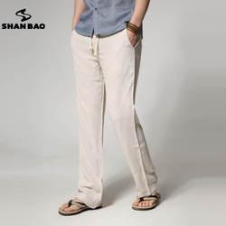 Shan Bao бренд мужской тонкий срез свободные прямые мужские льняные повседневные штаны 2017 летние большие размеры однотонные брюки 6 видов