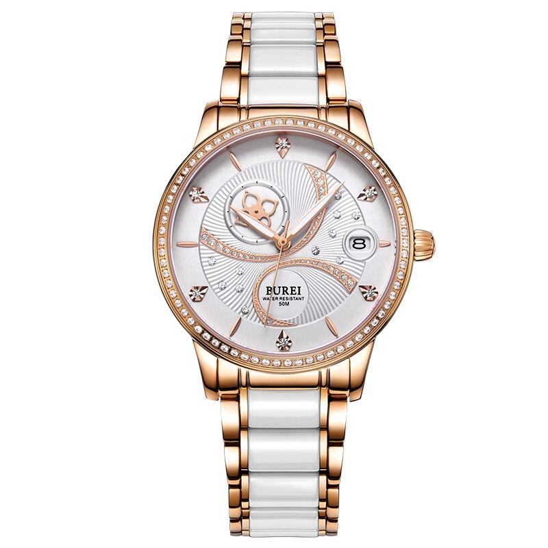 BUREI Brand Luminous Display Waterproof Romantic And Elegant Female Form Women Automatic Self Wind Watch